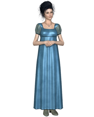 Illustration of a regency period late 18th to early 19th century woman wearing a blue dress standing with her hands folded 3d digitally rendered illustration