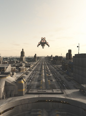 starship: Science fiction illustration of a future city street with space cruiser and other aerial traffic overhead in hazy sunshine 3d digitally rendered illustration