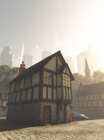 Science fiction illustration of the view from the Medieval buildings of an old town to the modern buildings of the future city on a bright sunny day, 3d digitally rendered illustration