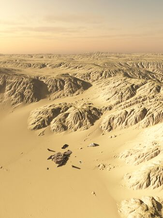 alien landscape: Science fiction illustration of a wind scoured spaceship crash site on a lonely desert planet, 3d digitally rendered illustration