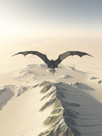 Fantasy illustration of a grey dragon flying over a snow covered mountain range, 3d digitally rendered illustration Stock Photo