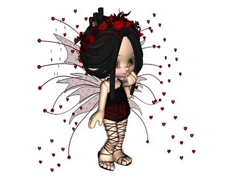 pretty smile: Cute toon Valentines Day fairy with heart shaped confetti, 3d digitally rendered illustration Stock Photo