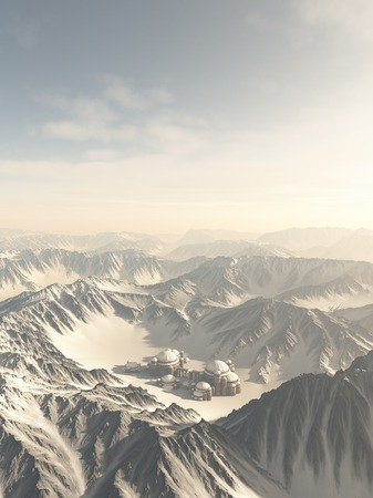 snow covered: Fantasy or Science Fiction illustration of a lost city surrounded by snow covered mountains, 3d digitally rendered illustration Stock Photo