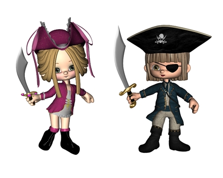 toon: Two cute toon pirates, 3d digitally rendered illustration