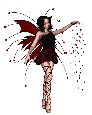 scattering: Fantasy illustration of a cute Valentine Fairy scattering red heart sparkles, 3d digitally rendered illustration