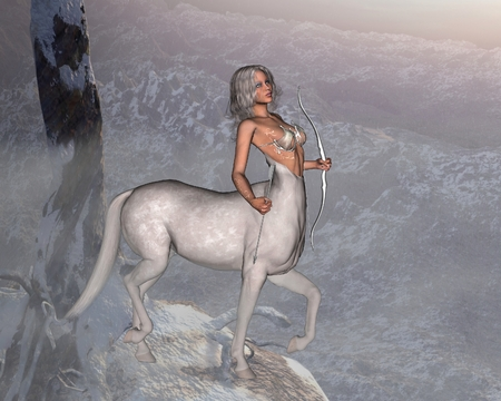 centaur: Fantasy illustration of a silver-haired female centaur with bow and arrow, standing in a snowy landscape, 3d digitally rendered illustration