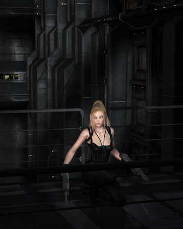 render: Science fiction illustration of a blonde female warrior character crouching in a dark city street at night, 3d digitally rendered illustration