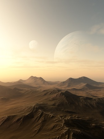 alien world: Science fiction illustration of planets rising over the horizon of a desolate alien world, 3d digitally rendered illustration Stock Photo