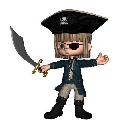 scimitar: Cute toon pirate boy, 3d digitally rendered illustration Stock Photo