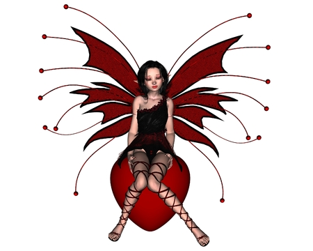 fey: Fantasy illustration of a cute Valentine Fairy sitting on a red heart, 3d digitally rendered illustration Stock Photo