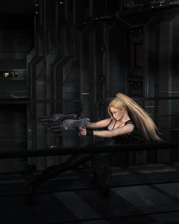 weapons: Science fiction illustration of a blonde female warrior character fighting in a dark city street at night, 3d digitally rendered illustration