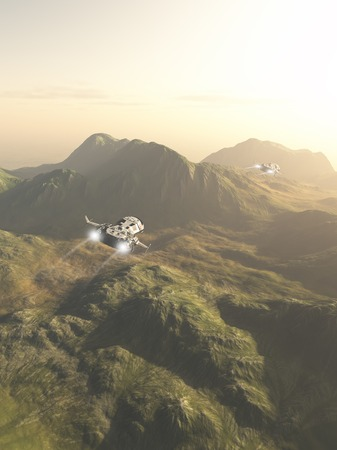scouting: Science fiction illustration of small spaceships flying a scouting mission across the mountains on an alien planet, 3d digitally rendered illustration