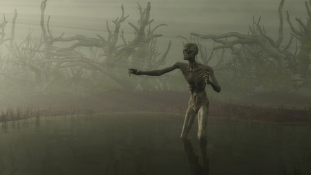 Fantasy illustration of an undead zombie in a misty swamp surrounded by twisted tree stumps reaching towards rays of light, 3d digitally rendered illustration Stock Photo