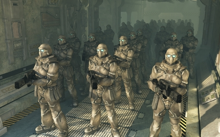 futuristic man: Science fiction illustration of a squad of space marines waiting to disembark from a troop carrier dropship, 3d digitally rendered illustration Stock Photo
