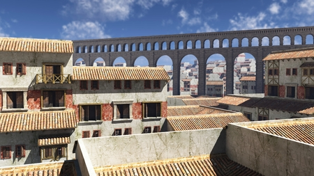 roman: Illustration of a view over the rooftops of an ancient Roman city in bright sunshine with aqueduct in the background, based on buildings in Pompeii and Herculaneum, Italy, 3d digitally rendered illustration
