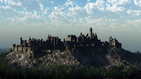 図に岩が多い丘の上の岩山では、中世の城の 3 d レンダリングされたデジタル イラストレーション 写真素材