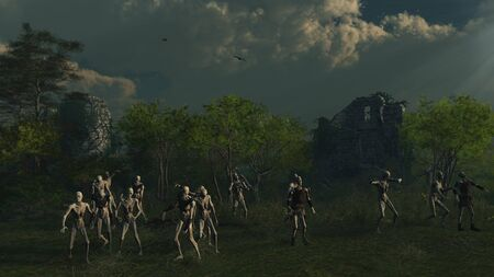 creature of fantasy: Fantasy illustration of a crowd of undead zombies prowling through the ruins of an ancient medieval stone castle, 3d digitally rendered illustration
