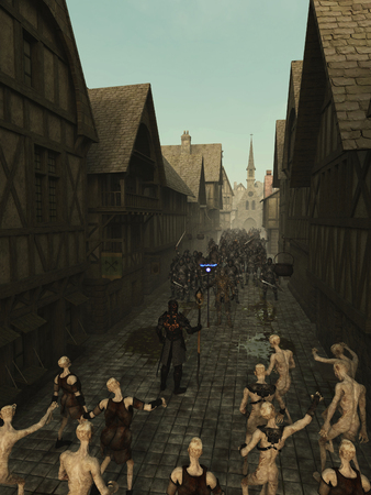 mediaeval: Fantasy illustration of a confrontation between an army of dark fantasy knights and a zombie army in a medieval style city street, 3d digitally rendered illustration