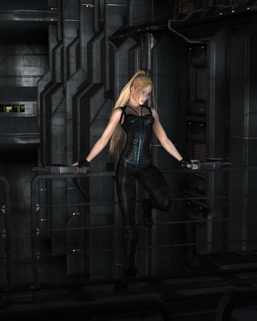Science fiction illustration of a blonde female warrior character with two guns leaning on the railings in a dark city street at night, 3d digitally rendered illustration