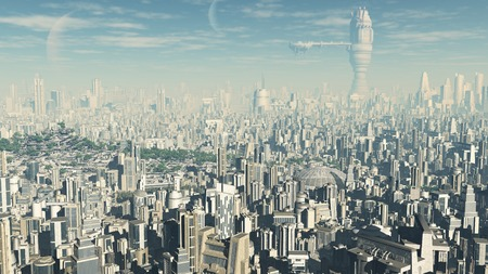 Science fiction illustration of the view across a future city, 3d digitally rendered illustration Stock Photo