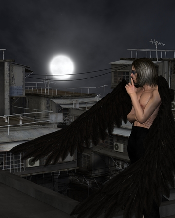 dark angel: Fantasy illustration of a male urban guardian angel standing on a city rooftop on a dark night with full moon, 3d digitally rendered illustration Stock Photo