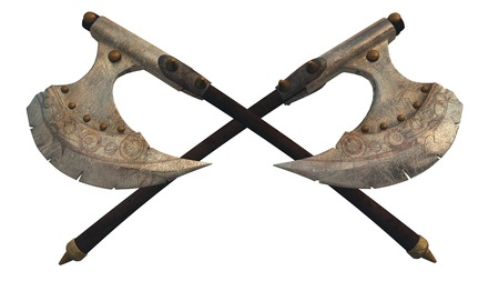 battle: Illustration of crossed fantasy style battle axes, 3d digitally rendered illustration