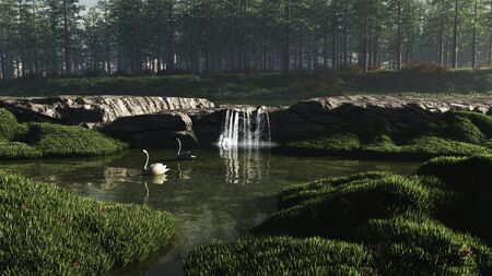 waterfall in forest: Illustration of a pair of white swans swimming on a peaceful woodland lake with waterfall, 3d digitally rendered illustration
