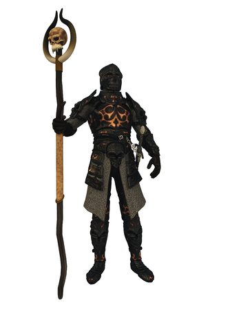 fighters: Fantasy illustration of an evil dark knight wearing black armour with a skull shaped helmet, 3d digitally rendered illustration