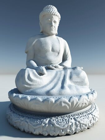 carving: Illustration of a white stone buddha statue, 3d digitally rendered illustration