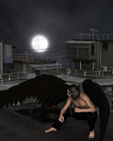 dark angel: Fantasy illustration of a male urban guardian angel crouching on a city rooftop on a dark night with full moon, 3d digitally rendered illustration Stock Photo