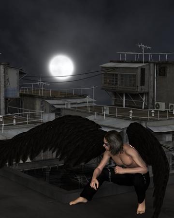masculino: ilustración Ilustración de la fantasía de un ángel de la guarda urbana masculina se agacha en una azotea de la ciudad en una noche oscura con la luna llena, 3d digitalmente