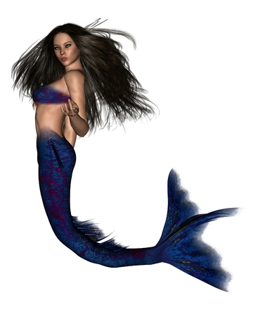 dark haired: Illustration of a beautiful dark haired mermaid, 3d digitally rendered illustration
