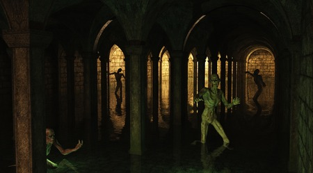 Illustration of dark flooded underground catacombs prowled by undead zombies, 3d digitally rendered illustration Stock Photo