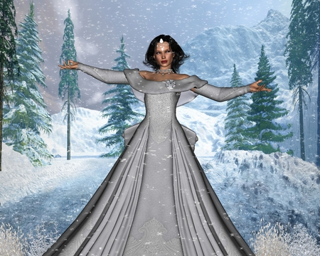 snow queen: Illustration of a fairytale Snow Queen in a winter forest, 3d digitally rendered illustration Stock Photo