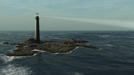 beam: Illustration of a lighthouse at evening on a rocky island, 3d digitally rendered illustration Stock Photo