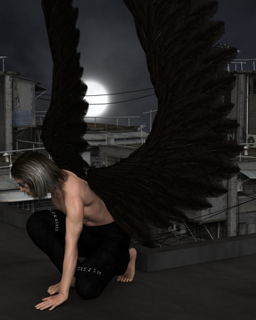 dark angel: Fantasy illustration of a male urban guardian angel kneeling on a city rooftop on a dark night with full moon, 3d digitally rendered illustration Stock Photo