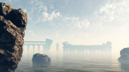 lost city: Fantasy illustration of the last remains of the ruined lost city of Atlantis viewed across a misty sea, 3d digitally rendered illustration Stock Photo