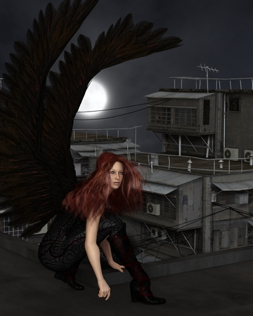 Fantasy illustration of a female urban guardian angel crouching on a city rooftop on a dark night with full moon, 3d digitally rendered illustration