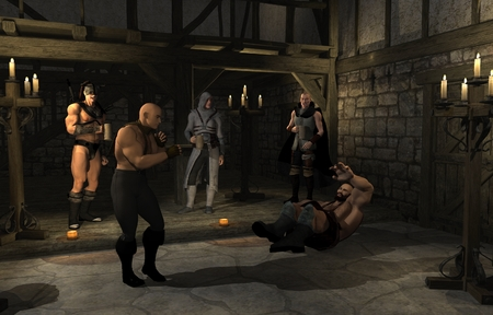 taverns: Illustration of a bare knuckle fist fight in a Medieval style fantasy tavern, 3d digitally rendered illustration
