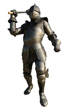 edad media: Ilustración de un caballero medieval con armadura empuñando una maza, 3d rindió la ilustración digital