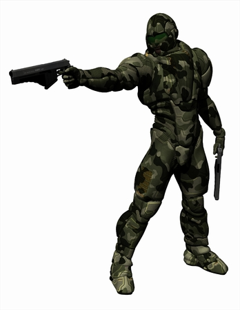 soldiers: Science fiction illustration of a future Space Marine wearing a suit of heavy camouflage armour, 3d digitally rendered illustration