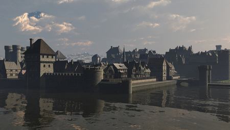 Illustration of a walled waterside European town scene during the Middle Ages or Medieval period, 3d digitally rendered illustration