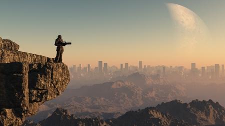Science fiction illustratie van een eenzame Space Marine guardsman zich op een klif met uitzicht op een verre stad op een buitenaardse wereld, 3d digitaal teruggegeven illustratie