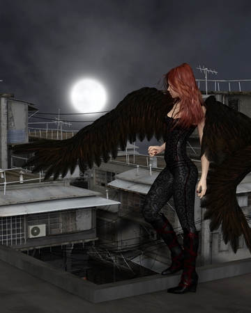 dark angel: Fantasy illustration of a female urban guardian angel standing on a city rooftop on a dark night with full moon, 3d digitally rendered illustration