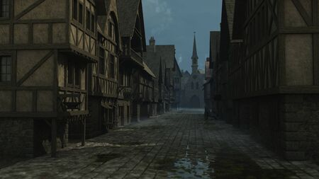 Illustration of an evening street scene set in a European town during the Middle Ages or Medieval period, 3d digitally rendered illustration 스톡 콘텐츠