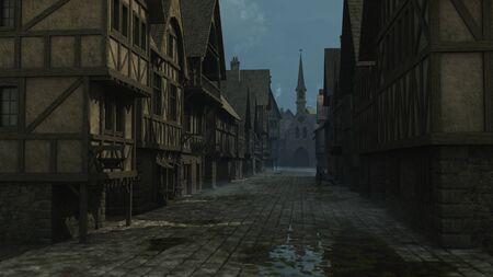 edad media: Ilustración Ilustración de una escena de la calle de noche ambientada en una ciudad europea en la Edad Media o el período medieval, 3d digital rindió Foto de archivo