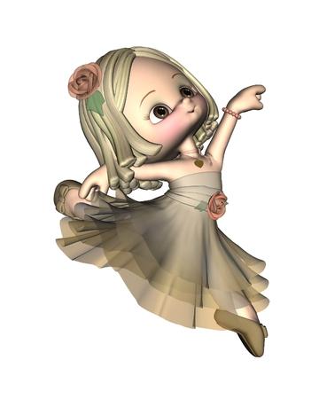 girl illustration: Cute little toon ballerina leaping, 3d digitally rendered illustration Stock Photo