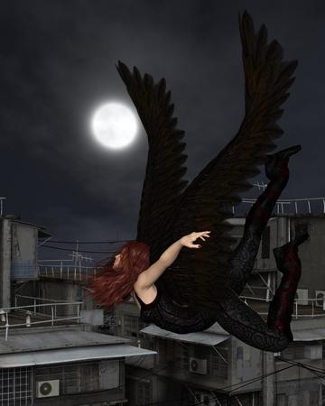 ?  ?       ?  ?      ?  ?     ?  ?    ?  ? �female: Ilustraci�n de la fantas�a de un �ngel de la guarda urbana femenina volando sobre un tejado de la ciudad en una noche oscura con luna llena, 3d rindi� la ilustraci�n digital