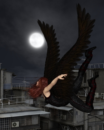 Fantasy illustration of a female urban guardian angel flying over a city rooftop on a dark night with full moon, 3d digitally rendered illustration Stock Photo