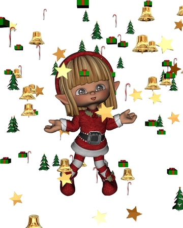 canes: Christmas Elf surrounded by festive confetti - stars, Christmas trees, candy canes, presents and bells, 3d digitally rendered illustration